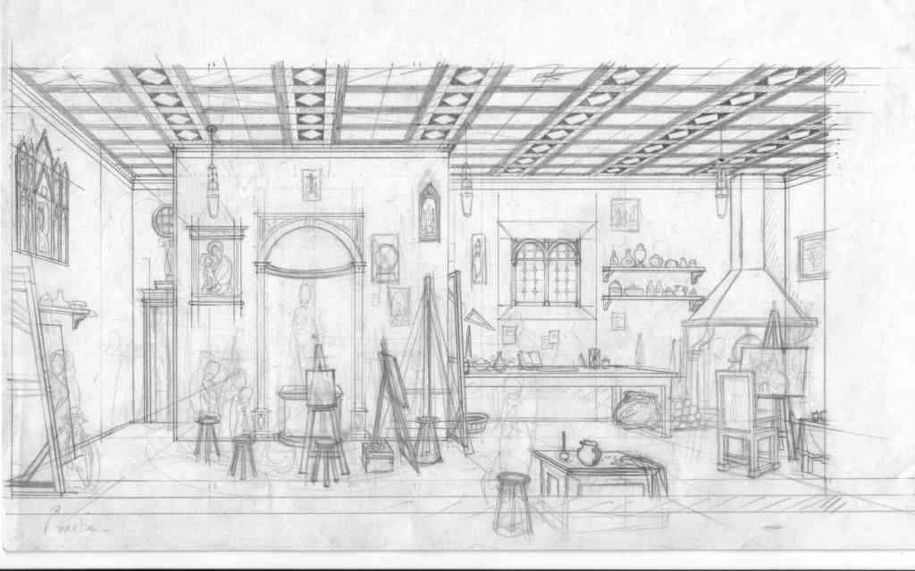 Dessin préparatoire pour l'atelier de Bellini par Jean Dytar