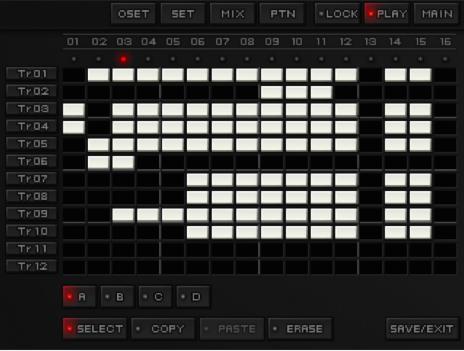 Ecran principal avec, en colonne, les emplacements de patterns