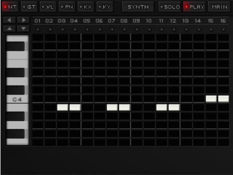 L'écran de saisie des notes sur un des synthés
