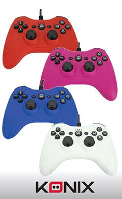 Les manettes filaires couleurs de KONIX pour PS3 et PC